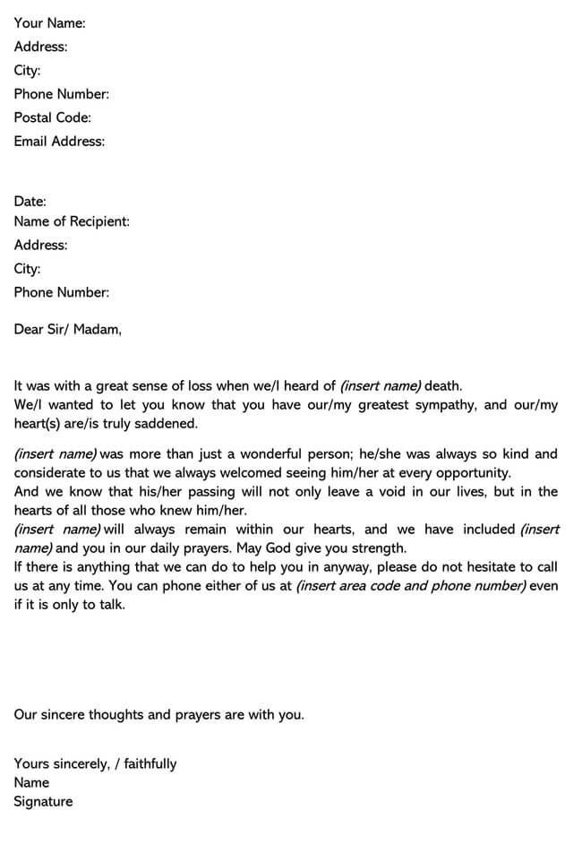 Death Sympathy Letter 01