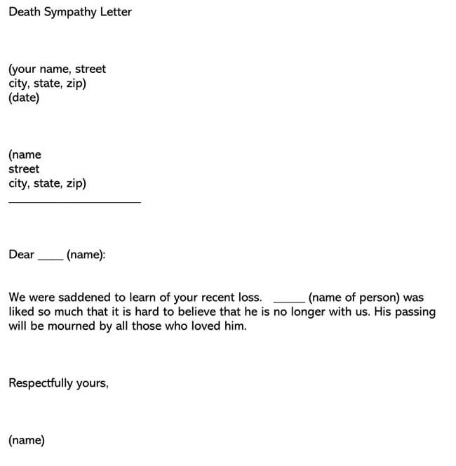 Death Sympathy Letter 03