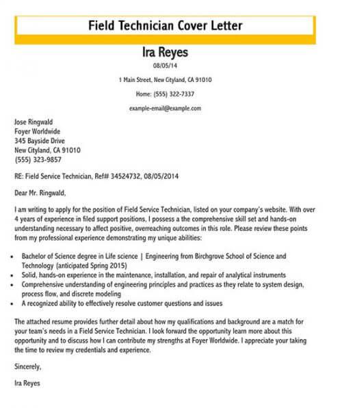 service technician cover letter sample