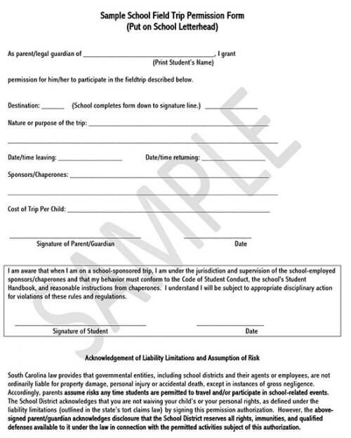 field trip consent form