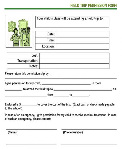 free printable field trip permission slip
