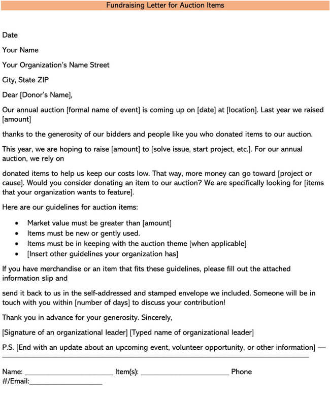 Fundraising Letter for Auction Items