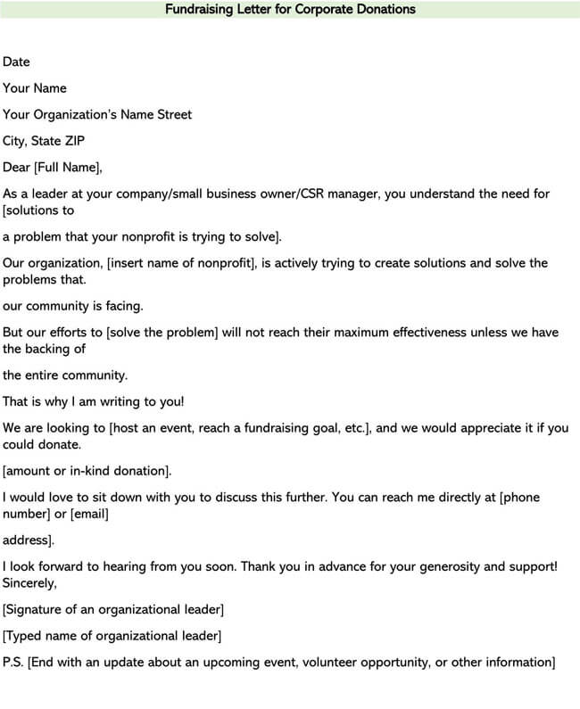 Fundraising Letter for Corporate Donations