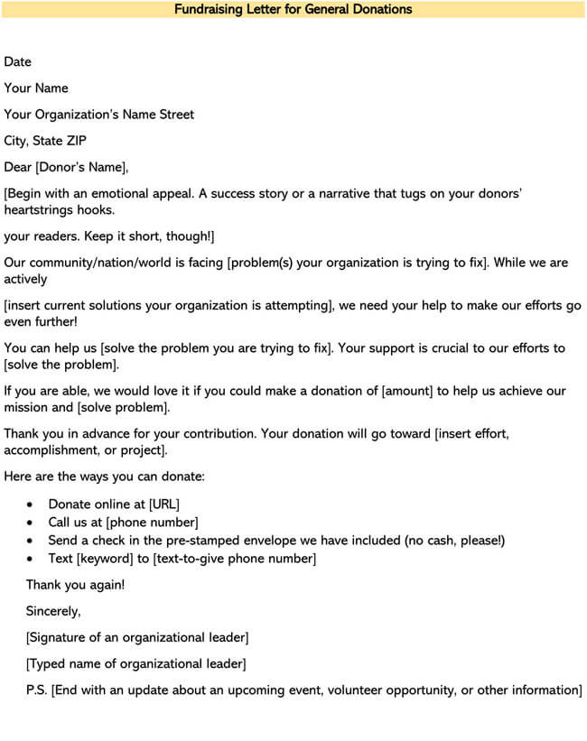 Fundraising Letter for General Donations 01