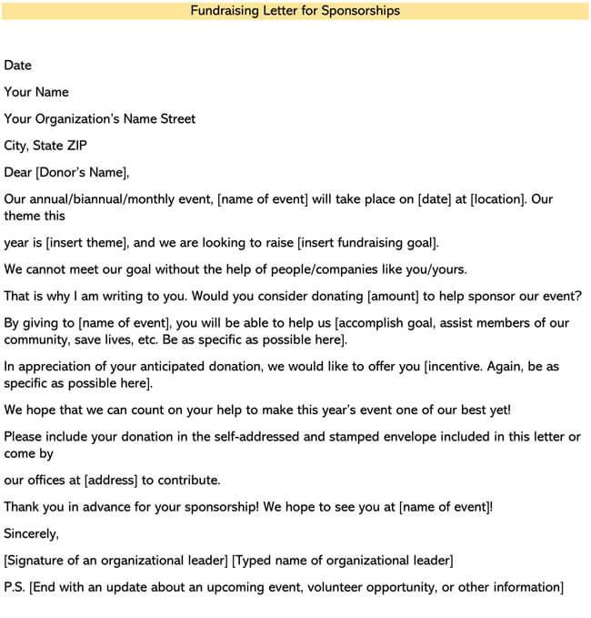 Fundraising Letter for Sponsorships