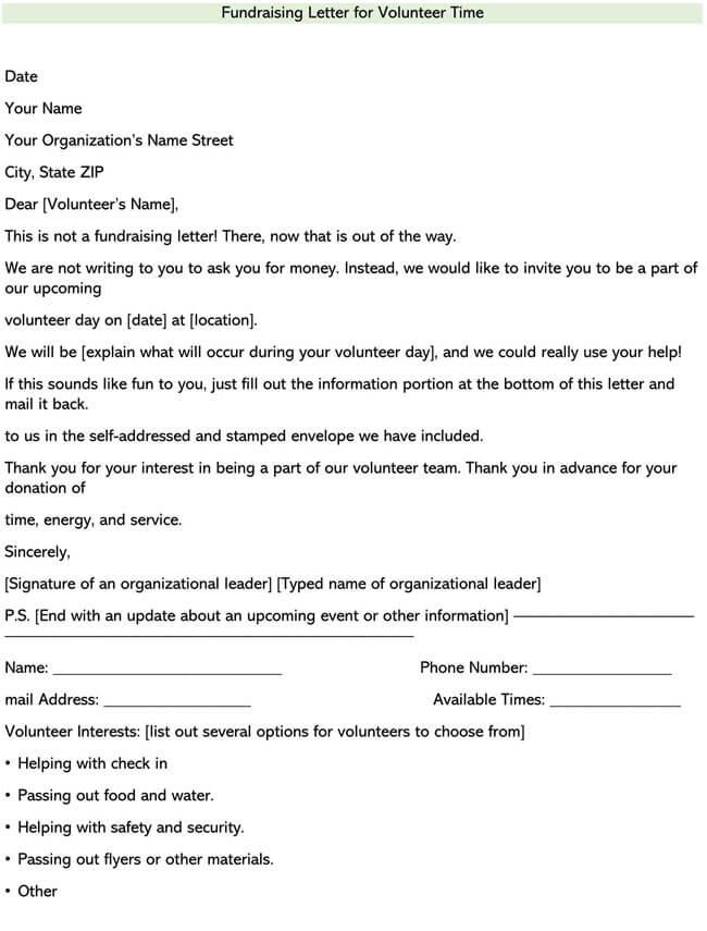 Fundraising Letter for Volunteer Time