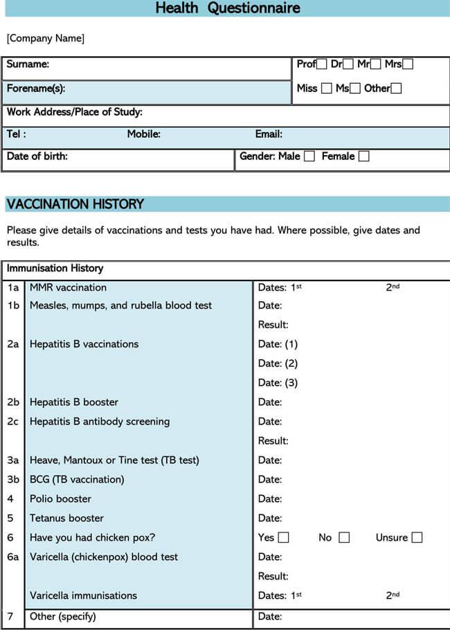 Health Questionnaire 06