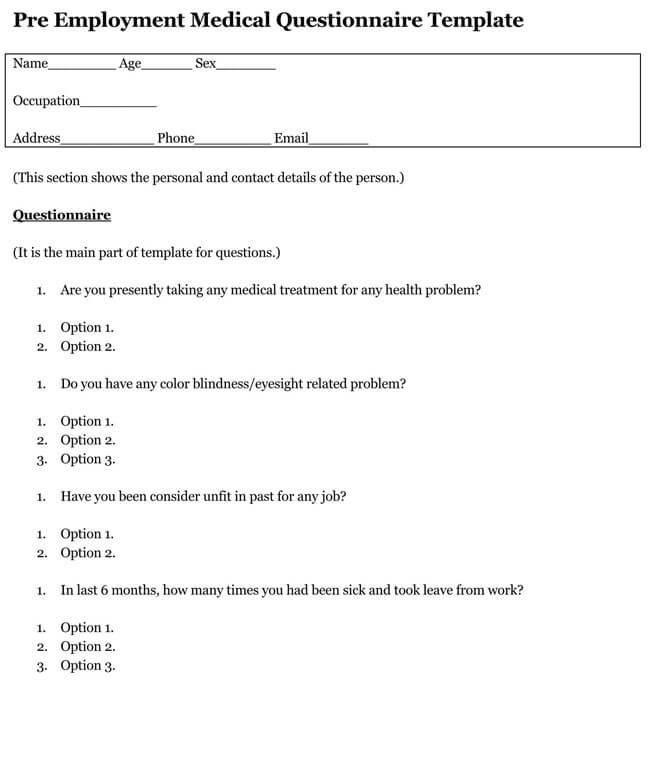 Health Questionnaire 08