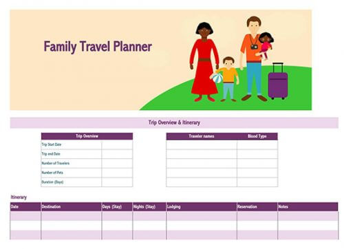 travel itinerary template google sheets