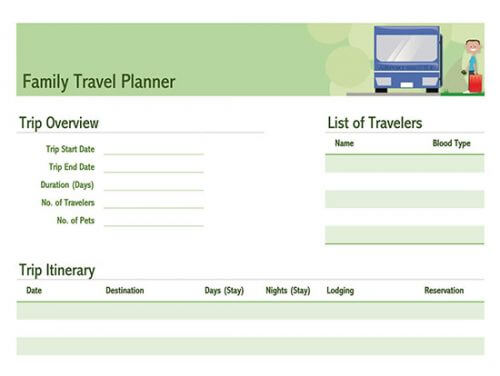 itinerary template doc
