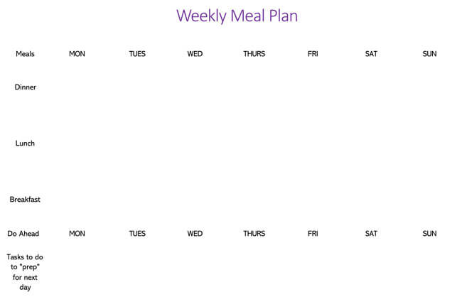 Meal Plan Word Template 01