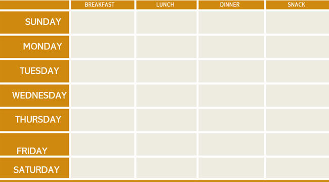 Meal Plan Word Template 07