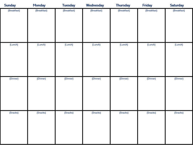 Meal Plan Word Template 10