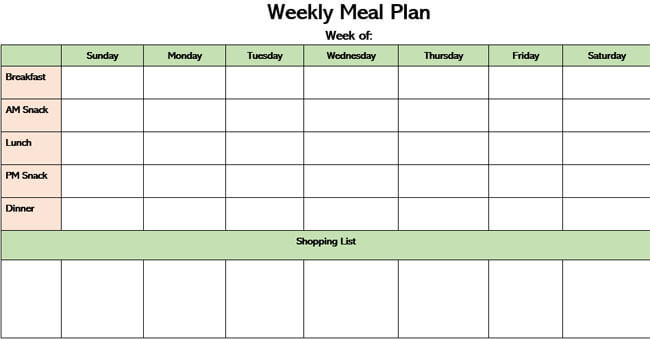 Meal Plan Word Template 13