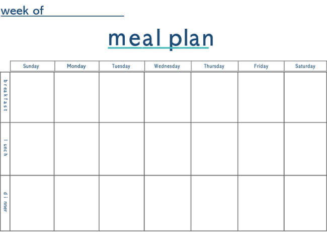 Meal Plan Word Template 14