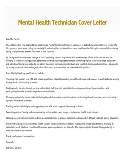 cover letter for technician engineering