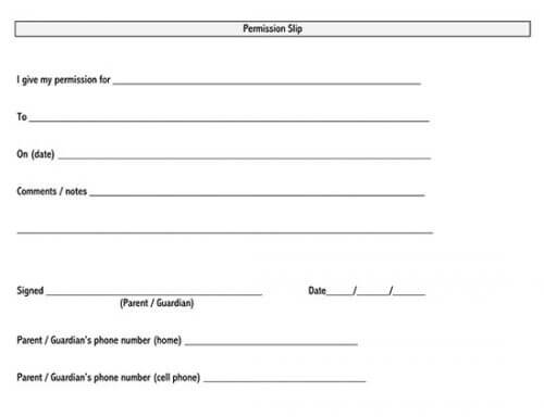 field trip permission slip template word
