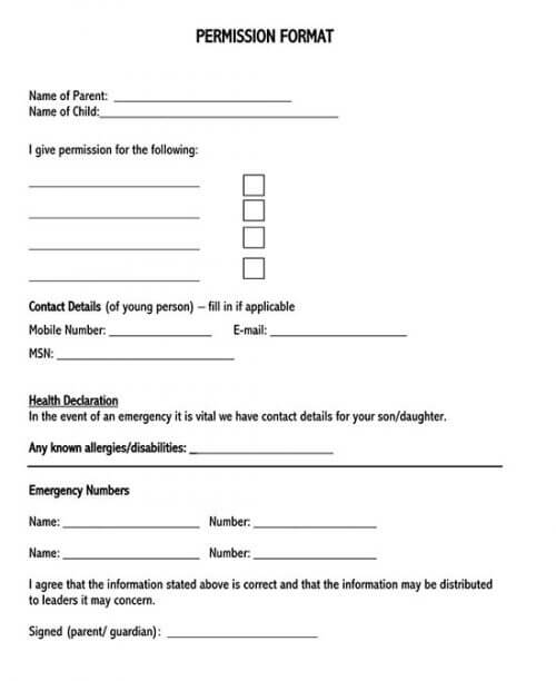 permission slip template google docs