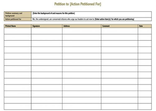 petition format