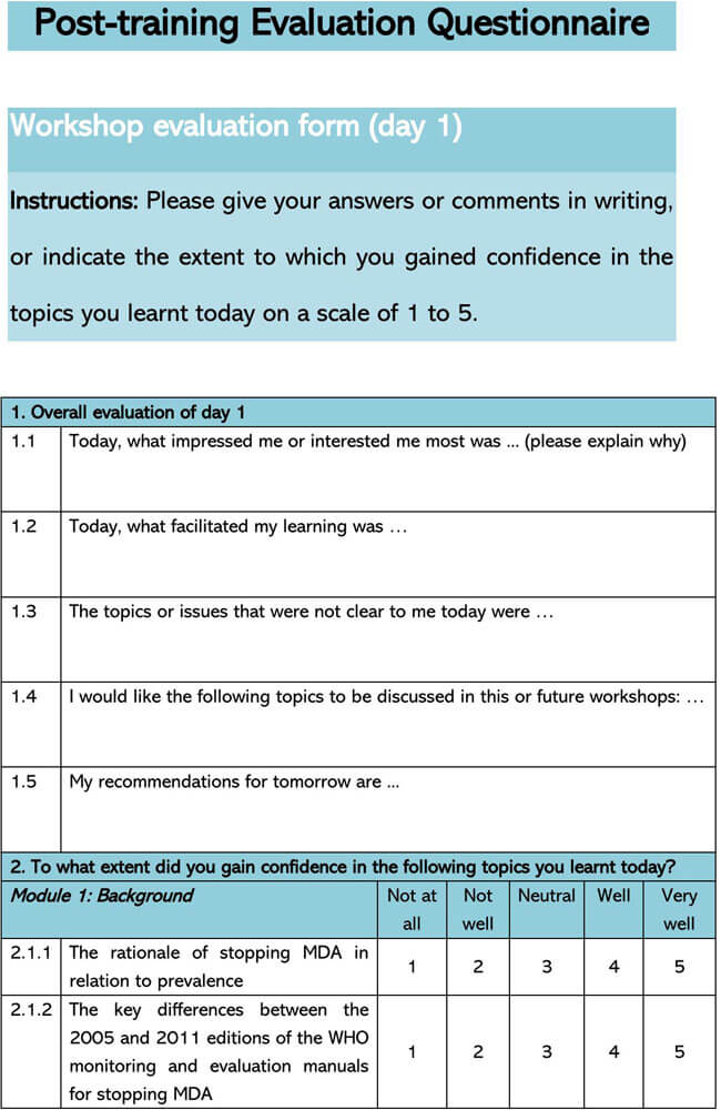 Post Training Evaluation Questionnaire