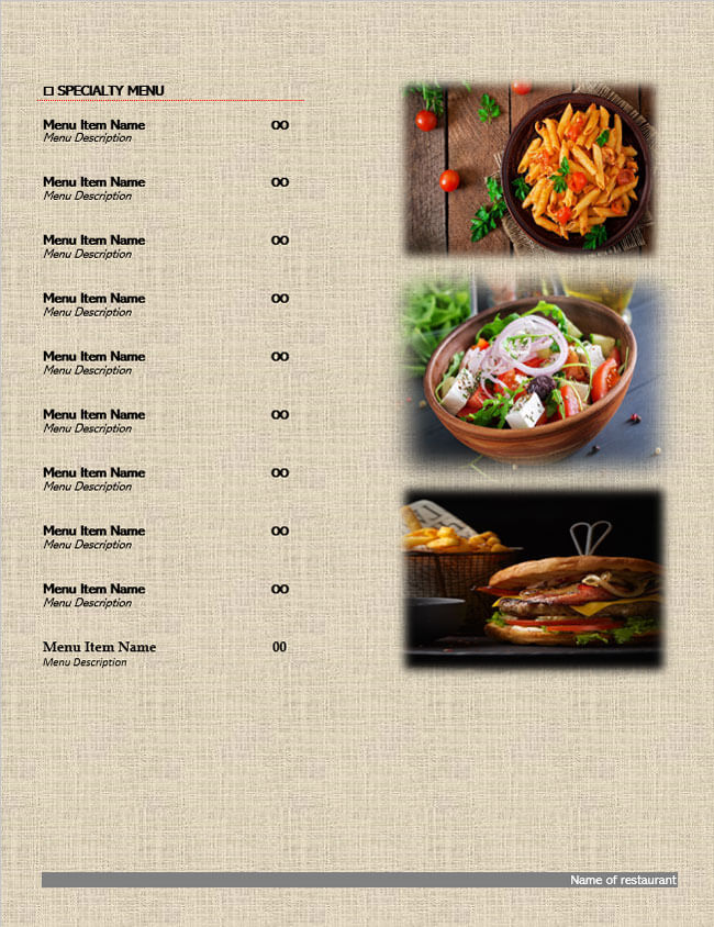 Restaurant Menu Template 11