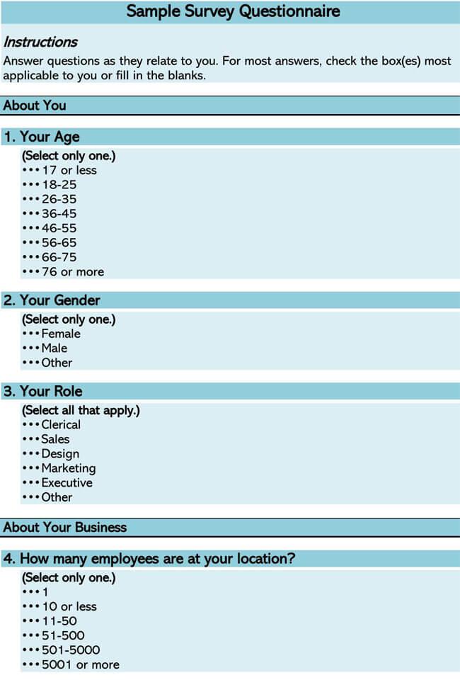 Sample Survey Questionnaire 01