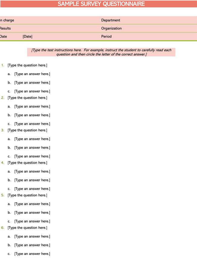 Sample Survey Questionnaire 02