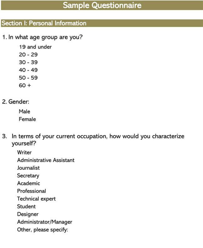 Sample Survey Questionnaire 04
