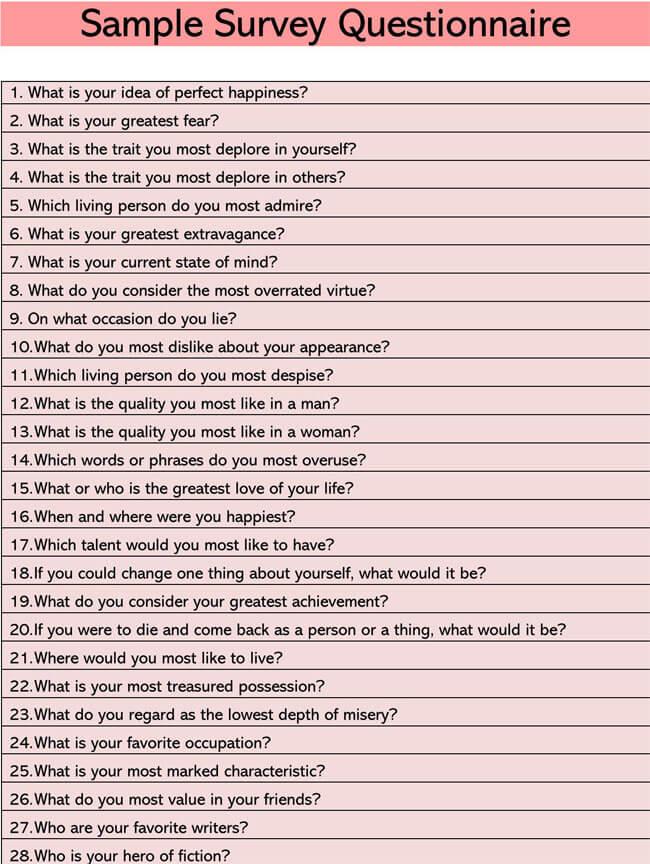 Sample Survey Questionnaire 07