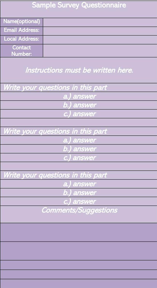 Sample Survey Questionnaire 09