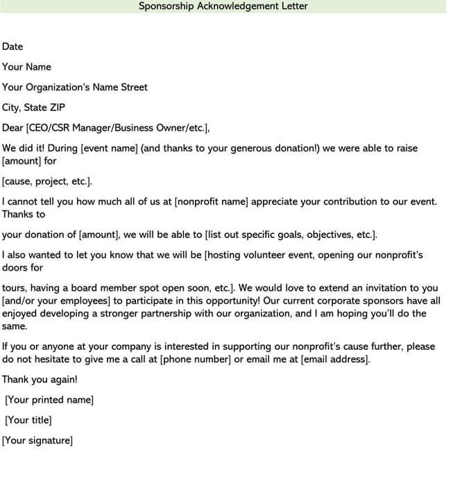 Sponsorship Acknowledgement Letter