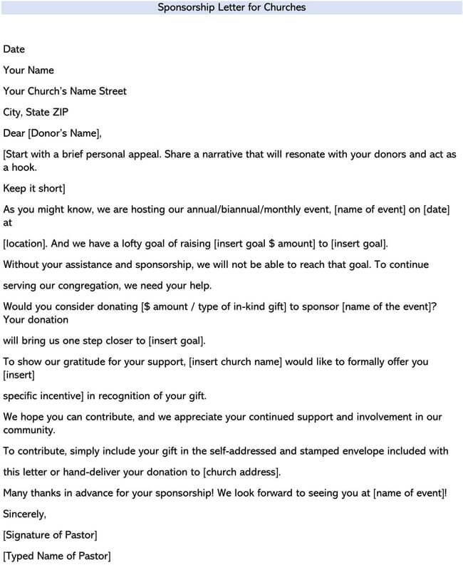 Sponsorship Letter for Churches
