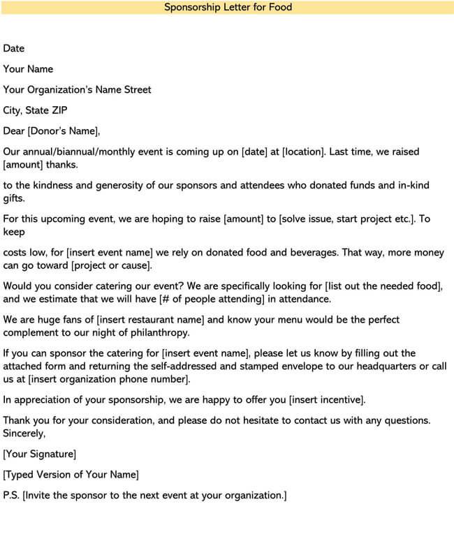 Sponsorship Letter for Food