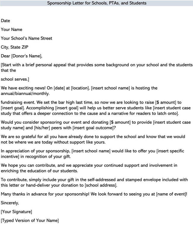 Sponsorship Letter for Schools