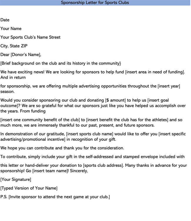 Sponsorship Letter for Sports Clubs