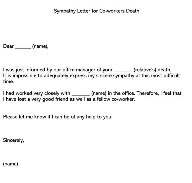 Sympathy Letter for Co-workers Death