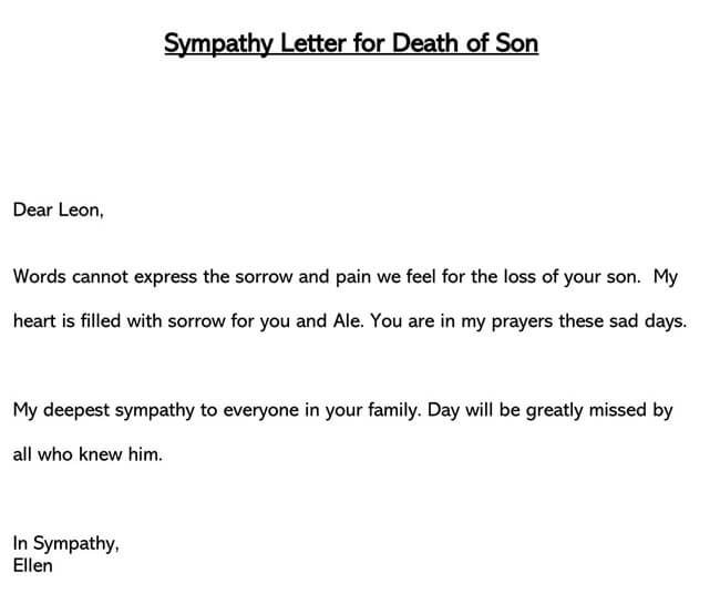 Sympathy Letter for Death of Son