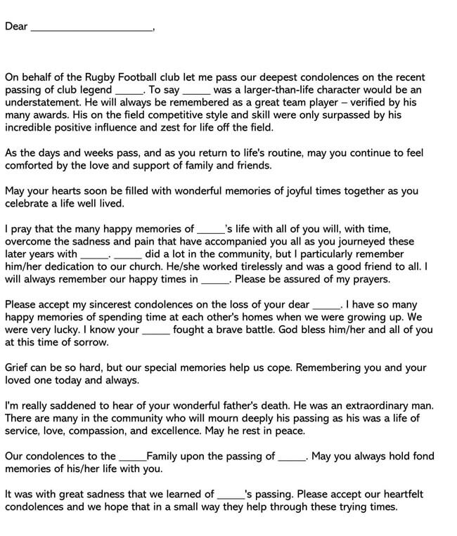 Sympathy Message for Club Member's Death