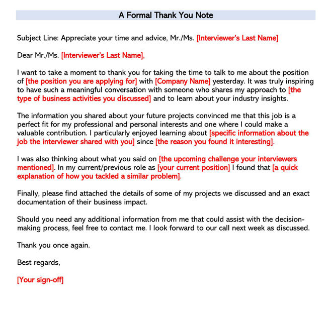 A Formal Thank You Note