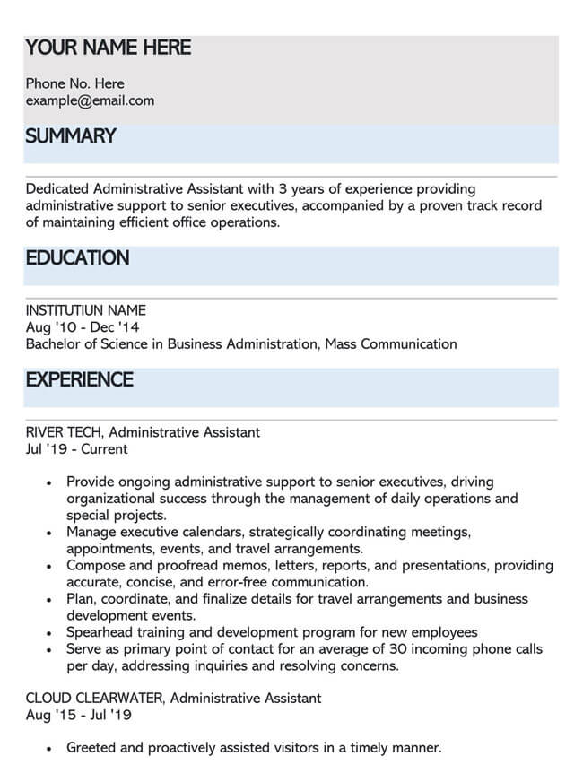 Administrative Assistant Resume Template 02