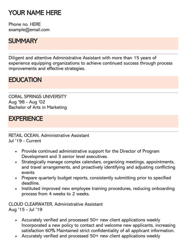Administrative Assistant Resume Template 03