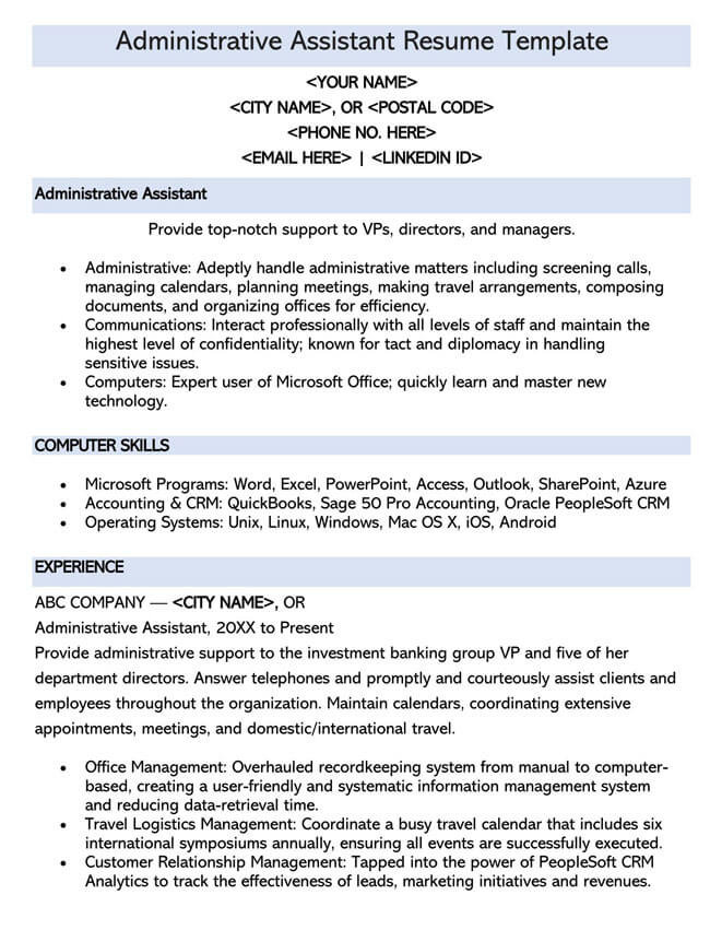 Administrative Assistant Resume Template 04