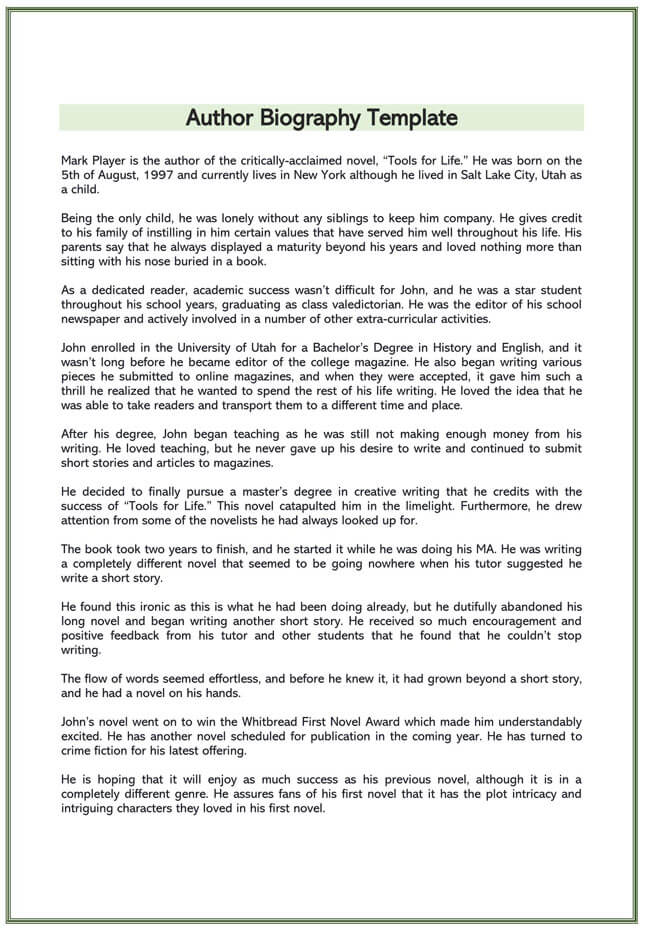 Author Biography Template