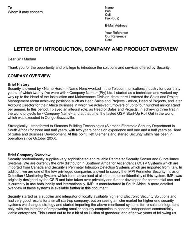 Business Introduction Letter Template 02