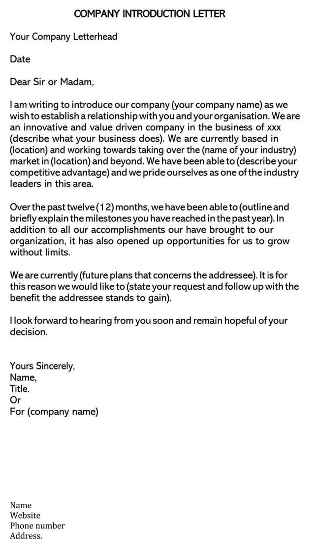 Business Introduction Letter Template 06