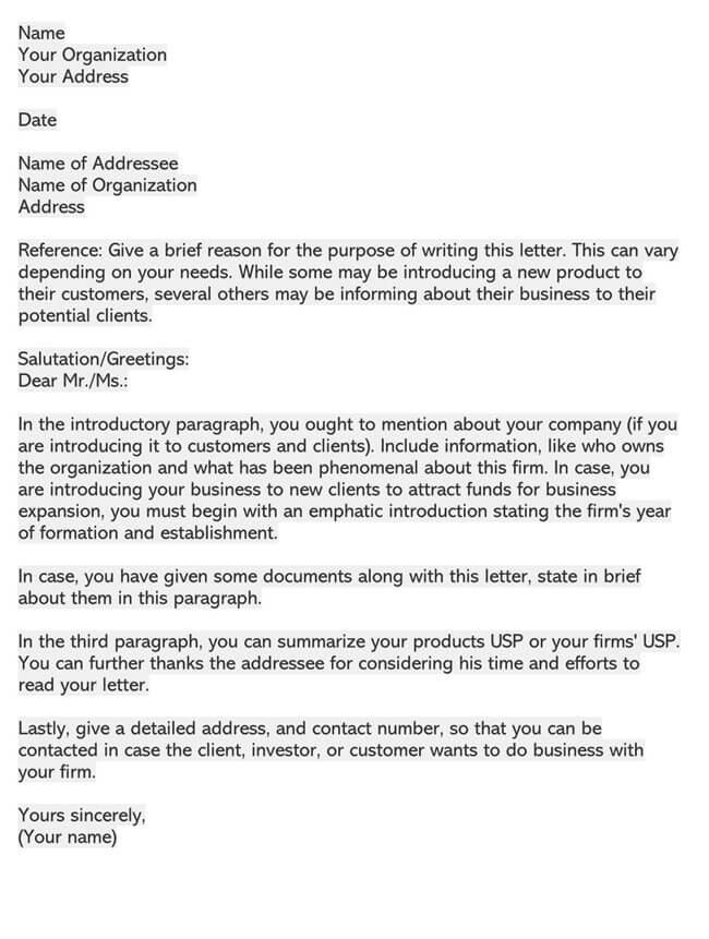 Business Introduction Letter Template 07