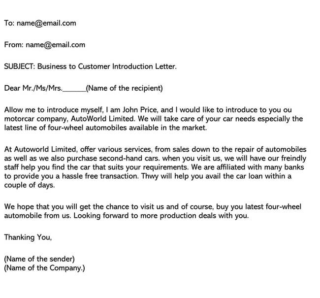 Business Introduction Letter Template 08