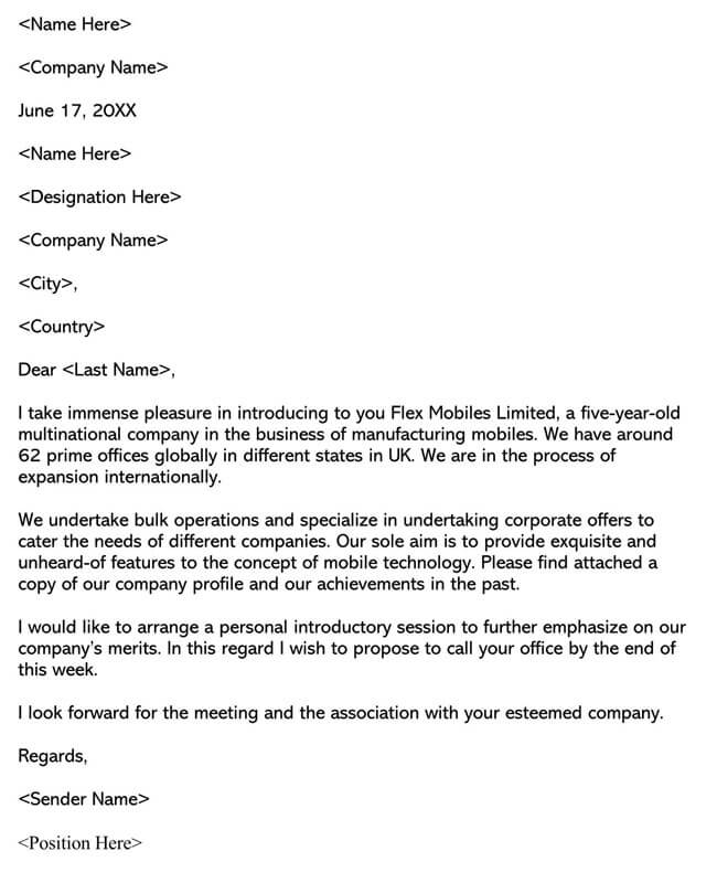 Business Introduction Letter Template 10