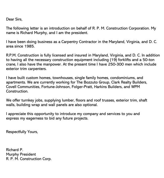 Business Introduction Letter Template 11