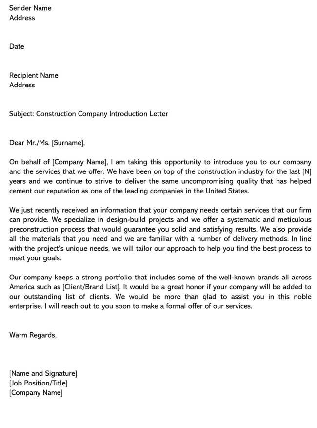 Business Introduction Letter Template 13
